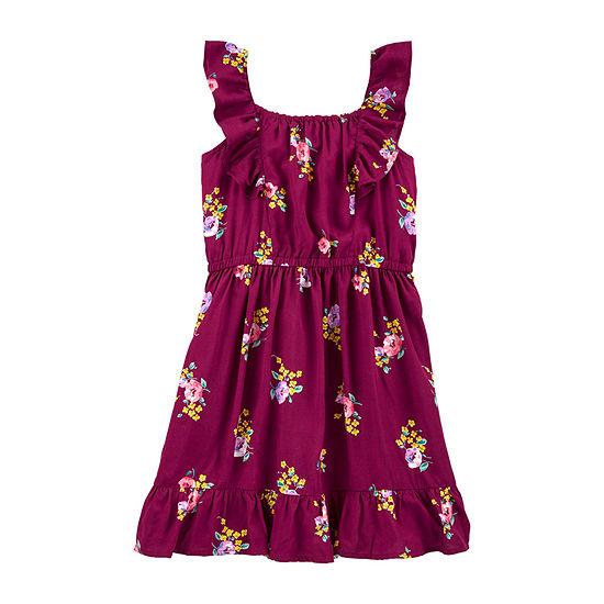 Carter's Little & Big Girls Sleeveless Flutter Sleeve Floral A-Line Dress