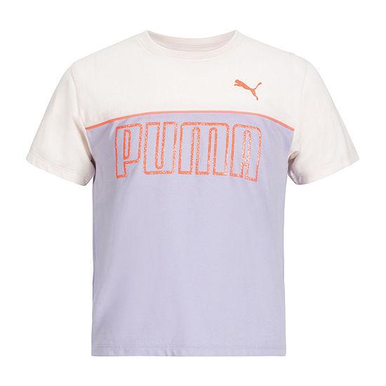 Puma Big Girls Crew Neck Short Sleeve Graphic T-Shirt
