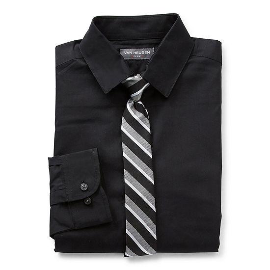 Van Heusen Big Boys Husky Point Collar Long Sleeve Shirt + Tie Set