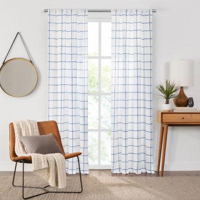 Fieldcrest Arden Windowpane Cotton Sheer Rod Pocket Single Curtain Panel