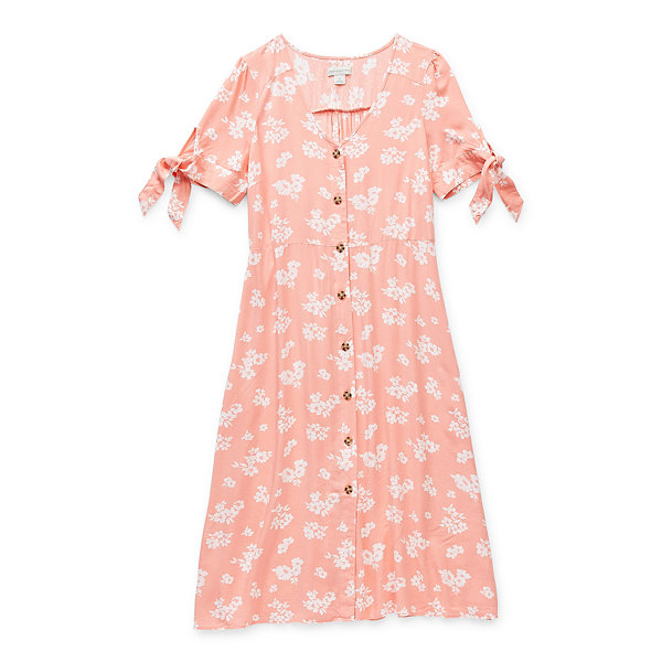 Peyton & Parker Mommy & Me Womens Short Sleeve Tie Sleeve Floral A-Line Dress