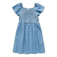 Arizona Little & Big Girls Short Sleeve A-Line Dress, Small (7-8) , Blue