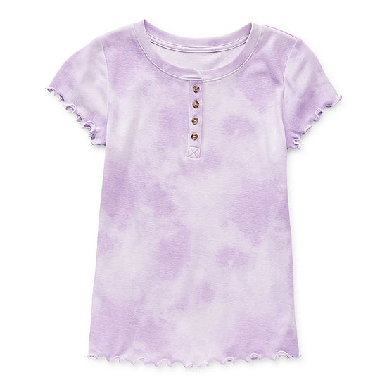 Arizona Little & Big Girls Henley Neck Short Sleeve T-Shirt