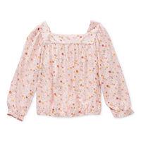 Arizona Little & Big Girls Square Neck Long Sleeve Blouse, 2x-large (20.5) Plus , Gray