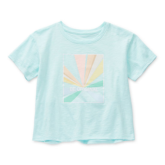 Xersion Tulip Back Little & Big Girls Round Neck Short Sleeve Graphic T-Shirt