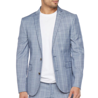 JF J.Ferrar Ultra Comfort Mens Plaid Stretch Super Slim Fit Suit Jacket