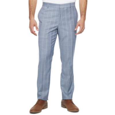 JF J.Ferrar Ultra Comfort Mens Plaid Stretch Super Slim Fit Suit Pants