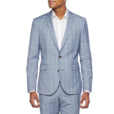 JF J.Ferrar Ultra Mens Plaid Stretch Slim Fit Suit Jacket