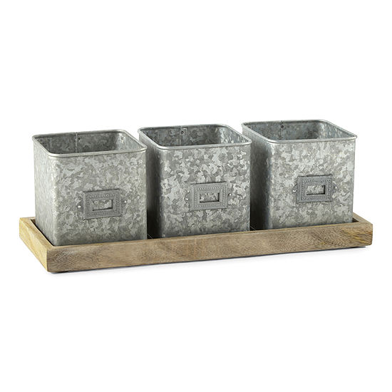 Linden Street Galvanized set of 3 Planter with Tray