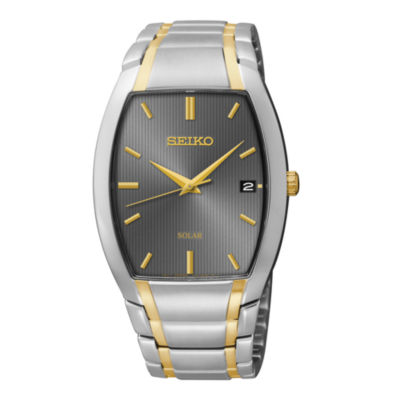 Seiko® Mens Two-Tone Stainless Steel Solar Watch SNE334