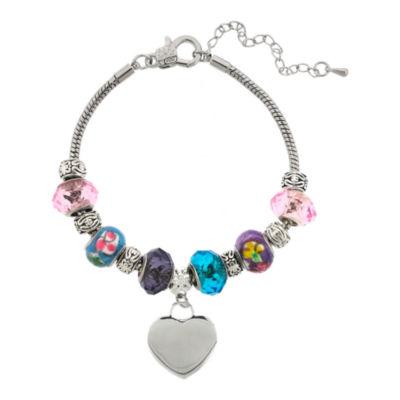 Dazzling Designs™ Silver-Plated Artisan Glass Bead & Heart Charm Bracelet