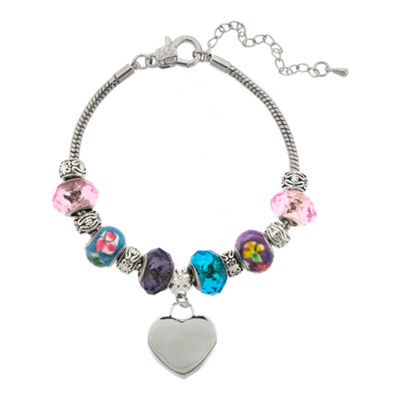 Dazzling Designs™ Silver-Plated Artisan Glass Bead & Heart Charm Bracelet