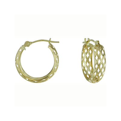 14K Yellow Gold Openwork Hoop Earrings
