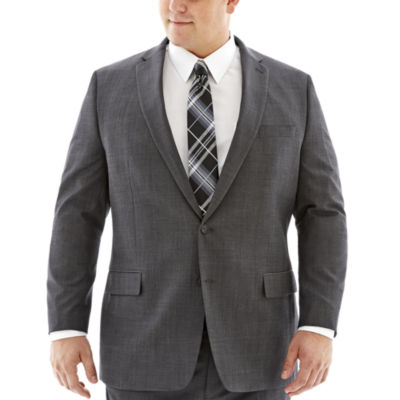 Claiborne® Charcoal Herringbone Suit Jacket–Big & Tall