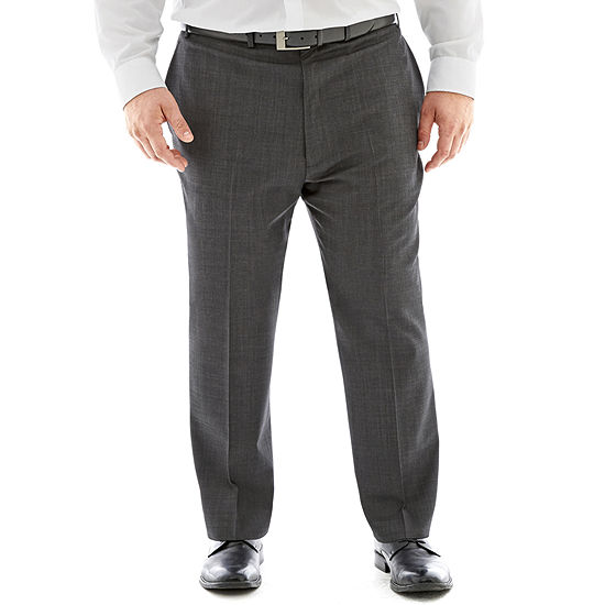 Claiborne® Charcoal Herringbone Flat-Front Suit Pants - Big & Tall