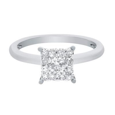 Womens 1/2 CT. T.W. Genuine Round White Diamond 14K Gold Engagement Ring