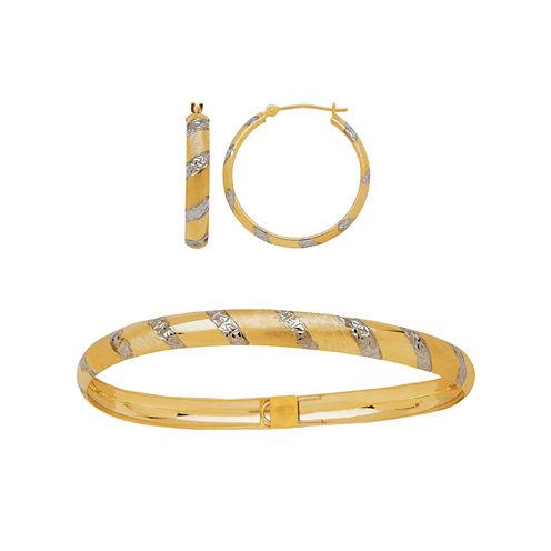 Two-Tone 10K Gold Diamond-Cut Bangle and Hoop Earring Jewlery Set
