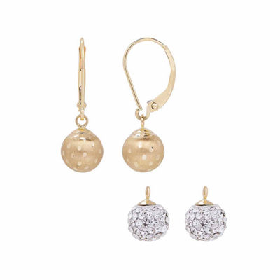 2-pc. Crystal 14K Gold Earring Sets
