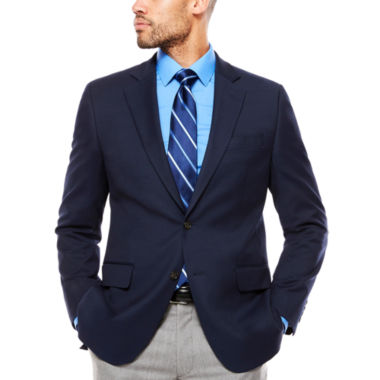 Stafford Stretch Year Round Medium Blue Boxweave Sport Coat