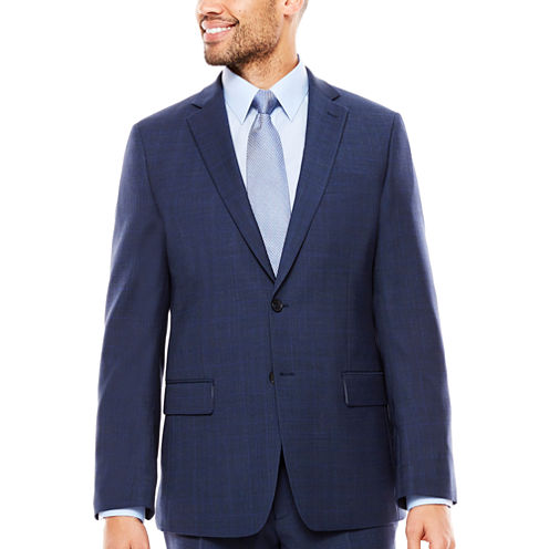 Claiborne Plaid Slim Fit Stretch Suit Jacket-Slim
