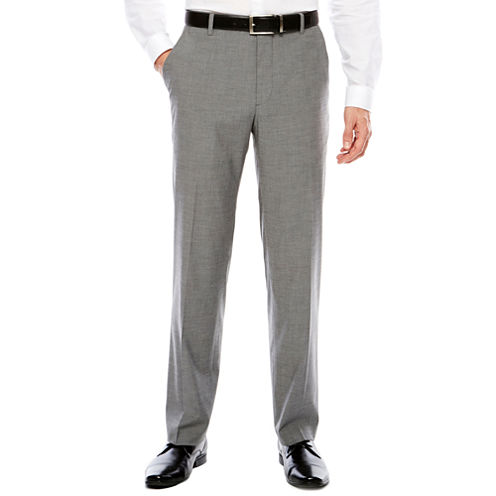 Men's JF Texture Stretch Gray Flat-Front Straight-Leg Slim Pants
