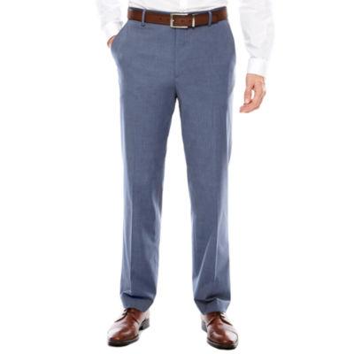 Men's JF J. Ferrar Stretch Flat-Front Straight-Leg Blue MicroTexture Slim Fit Pant