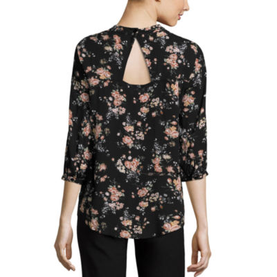 by&by 3/4 Sleeve Mock Neck Gauze Floral Blouse-Juniors