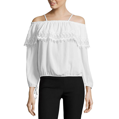 by&by Long Sleeve Round Neck Woven Blouse-Juniors