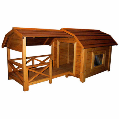 """Merry Products MPL001 The Barn Dog House - Barn: 39"""" L X 47"""" W X 35"""" H; Porch: 29"""""""