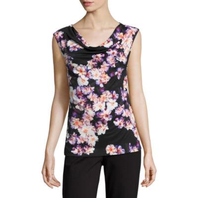 Liz Claiborne Sleeveless Cowl Neck Floral T-Shirt-Womens