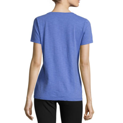 Made For Life Short Sleeve Scoop Neck T-Shirt-Womens Petites