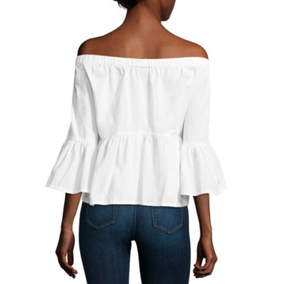 a.n.a Off The Shoulder Embroidered Peplum Blouse