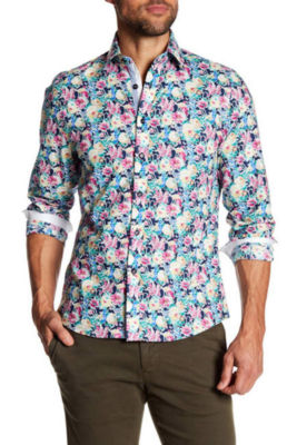 TR Premium Bright Floral Pattern Slim Fit Dress Shirt