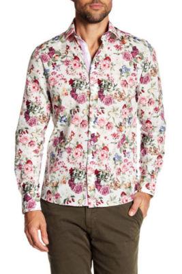 TR Premium Floral Button-Front Slim Dress Shirt