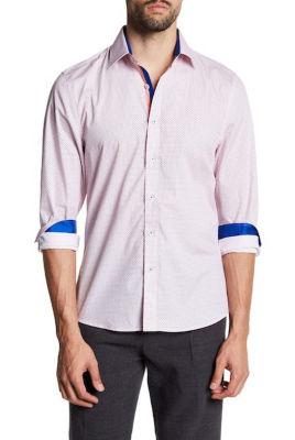 TR Premium Jacquard Pink and Blue Contrast Slim Fit Dress Shirt