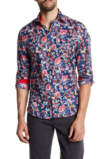TR Premium Vibrant Floral Pattern Slim Fit Dress Shirt