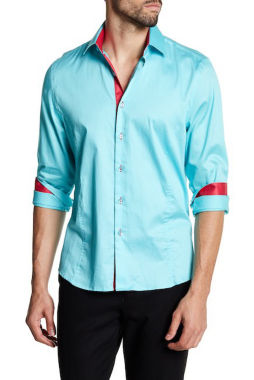 TR Premium Solid Turquoise and Red Contrast Slim Fit Dress Shirts