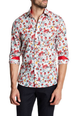 TR Premium Red Floral Pattern Contrast Slim Fit Dress Shirt
