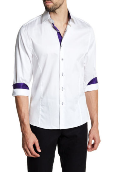 TR Premium Solid White and Purple Contrast Slim Fit Dress Shirt