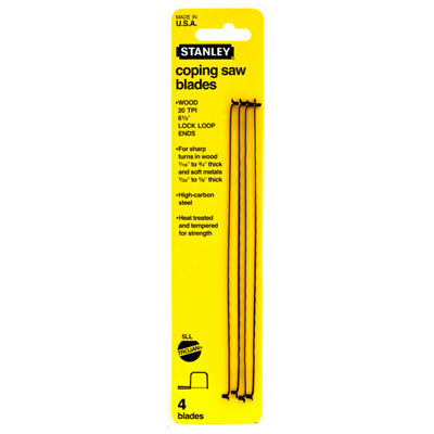 "Stanley Hand Tools 15-058 6-1/2"" 10 TIP Coping Saw Blades"