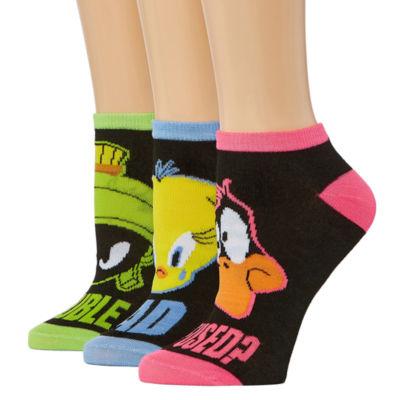 Warner Brothers 3 Pair Looney Tunes Low Cut Socks - Womens