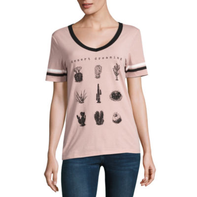 Short Sleeve V Neck T-Shirt-Womens Juniors