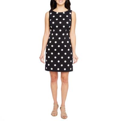 R & K Originals Sleeveless Polka Dot Sheath Dress