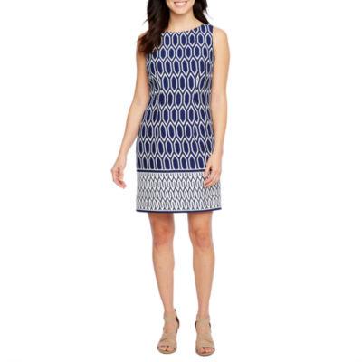 R & K Originals Sleeveless Geo Print Sheath Dress
