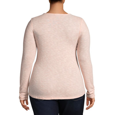 Self Esteem Long Sleeve Scoop Neck Knit Blouse-Juniors Plus