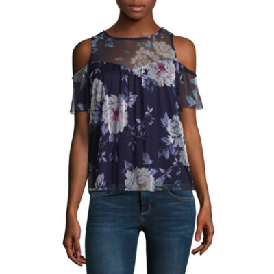 by&by Short Sleeve Scoop Neck Mesh Cold Shoulder Blouse-Juniors
