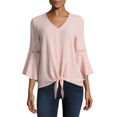 by&by Long Sleeve V Neck Crepe Blouse-Juniors
