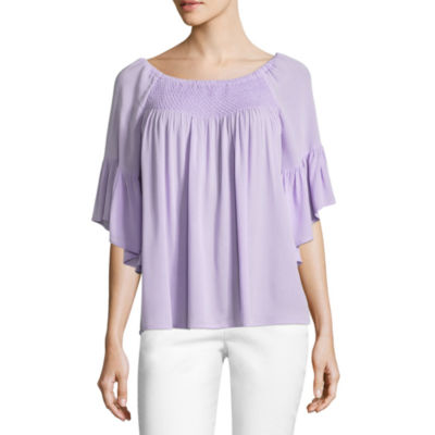 a.n.a. 3/4 Sleeve Smock Neck Top