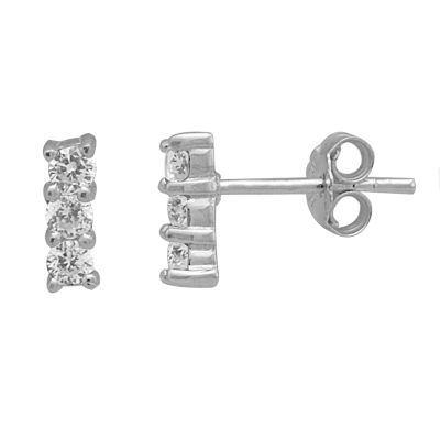 Itsy Bitsy Cubic Zirconia Sterling Silver 8.4mm Stud Earrings