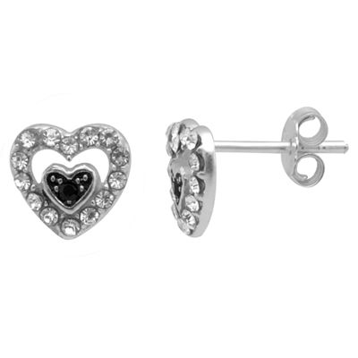 Itsy Bitsy Itsy Bitsy Multi Color Sterling Silver 8.4mm Heart Stud Earrings